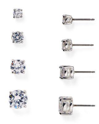Cubic Zirconia Stud Earrings, 6mm