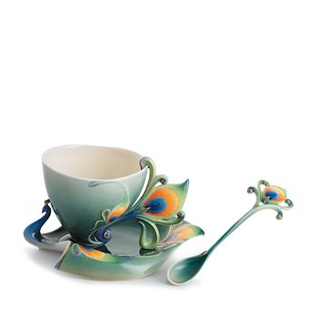 Franz Collection - Peacock Splendor Cup & Saucer with Spoon