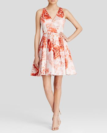 Adrianna Papell - Dress - Sleeveless V-Neck Floral Print Fit and Flare