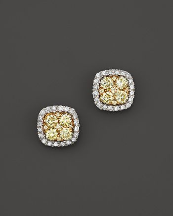 Bloomingdale's - Yellow and White Diamond Stud Earrings in 14K White and Yellow Gold - 100% Exclusive
