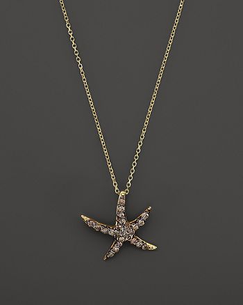 KC Designs - Champagne Diamond Starfish Pendant Necklace in 14K Yellow Gold, .20 ct. t.w.