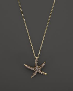 Kc Designs Champagne Diamond Starfish Pendant Necklace in 14K Yellow Gold, 16