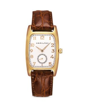 HAMILTON American Classic Boulton Leather Strap Watch, 27Mm X 31Mm in Brown/ White/ Gold
