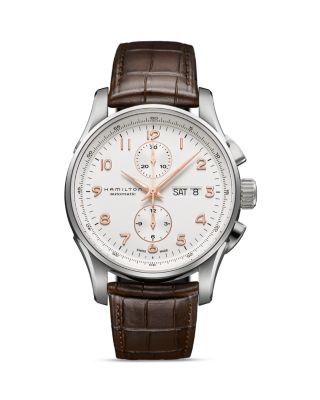 HAMILTON Jazzmaster Maestro Automatic Chronograph Leather Strap Watch, 41Mm in Brown/ White/ Silver