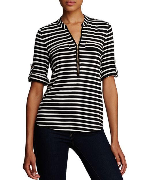 Calvin Klein - Striped Zip Front Roll Sleeve Knit Blouse