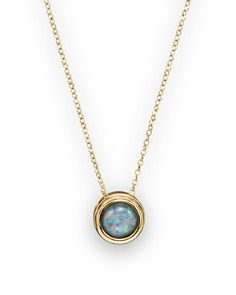 "Bloomingdale's - Black Opal Bezel Set Pendant Necklace in 14K Yellow Gold, 17"" - 100% Exclusive"