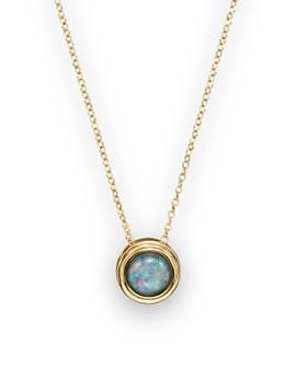 "Bloomingdale's - Black Opal Bezel Set Pendant Necklace in 14K Yellow Gold, 17""- 100% Exclusive"
