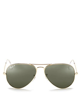 Ray-Ban - Unisex Polarized Brow Bar Aviator Sunglasses, 62mm