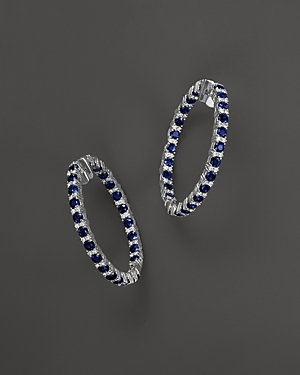 Sapphire and Diamond Inside-Out Hoop Earrings in 14K White Gold - 100% Exclusive