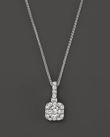 Bloomingdale's - Diamond Halo Pendant Necklace in 14K White Gold, .25 ct. t.w. - 100% Exclusive