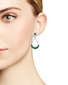 Bloomingdale's - Emerald and Diamond Drop Earrings in 14K White Gold- 100% Exclusive