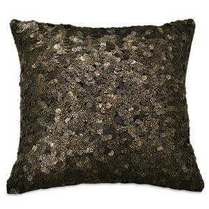 Donna Karan Reflection Ebony Sequin Decorative Pillow, 18 x 18