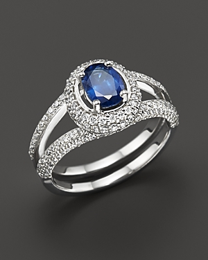 Sapphire and Diamond Oval Ring in 14K White Gold - 100% Exclusive