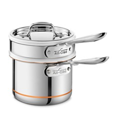 All-Clad - Copper Core 2 Quart Saucepan with Double Boiler & Lid