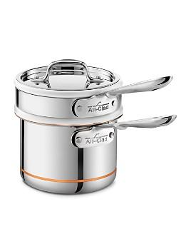 All-Clad - Copper Core 2 Quart Saucepan with Double Boiler & Lid