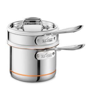 All Clad Copper Core 2 Quart Saucepan with Double Boiler & Lid