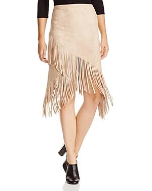 Aqua Faux Suede Fringe Skirt - 100% Exclusive
