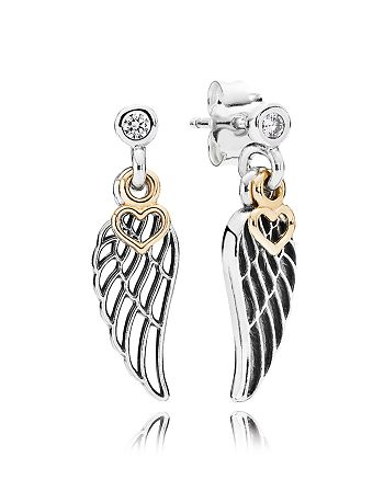PANDORA - Earrings - 14k Gold, Sterling Silver & Cubic Zirconia Love & Guidance