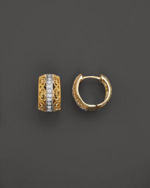 Diamond Filigree Huggie Hoop Earrings in 14K Yellow Gold, .20 ct. t.w. - 100% Exclusive