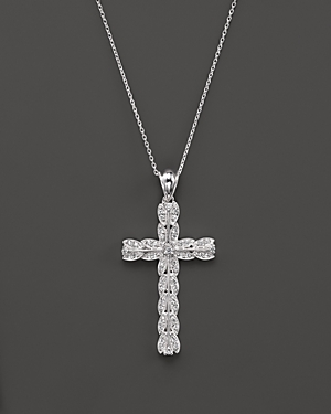 Diamond Vintage Inspired Cross Pendant Necklace in 14K White Gold, .25 ct. t.w. - 100% Exclusive