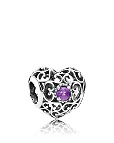 PANDORA -  Sterling Silver & Synthetic Amethyst February Signature Heart Charm