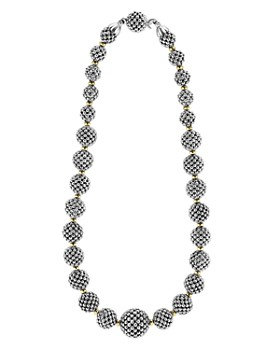 """LAGOS - LAGOS Sterling Silver Caviar Necklace with 18K Gold, 17"""""""