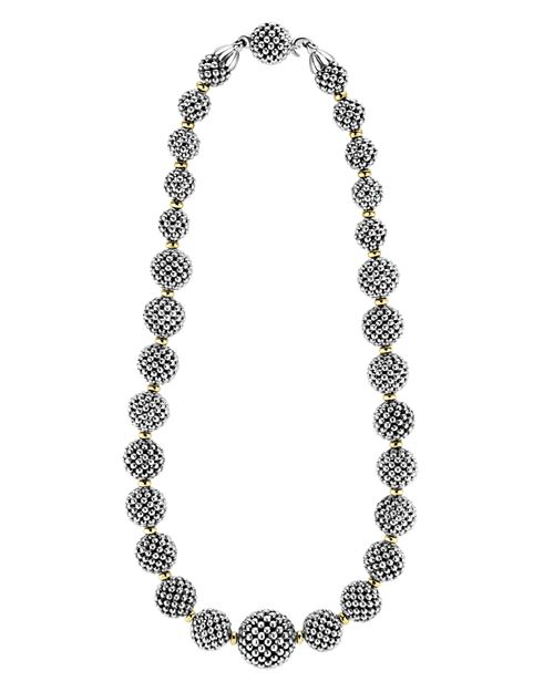 LAGOS - Sterling Silver Caviar Necklace with 18K Gold, 17""