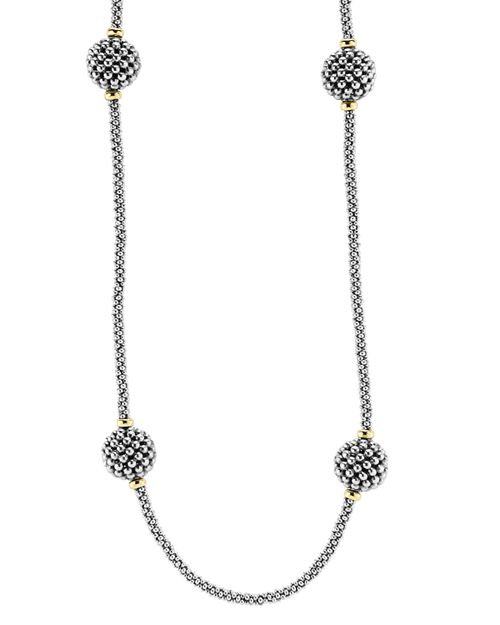 """LAGOS - Sterling Silver Beaded Necklace with Caviar Stations, 32"""""""