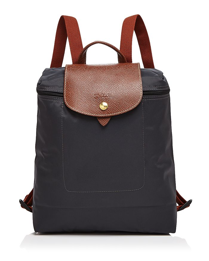 Longchamp Le Pliage Nylon Backpack In Gunmetal/gold