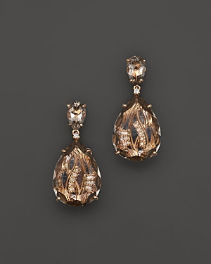 Vianna Brasil 18K Rose Gold Earrings with Murion Quartz and Diamond Accents