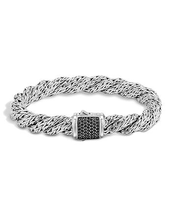 JOHN HARDY - Classic Chain Sterling Silver Lava Medium Flat Twisted Chain Bracelet with Black Sapphire