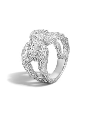 John Hardy Classic Chain Sterling Silver Diamond Pave Ring