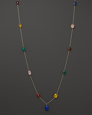 Multicolor Agate Station Necklace in 14K Yellow Gold, 36 - 100% Exclusive
