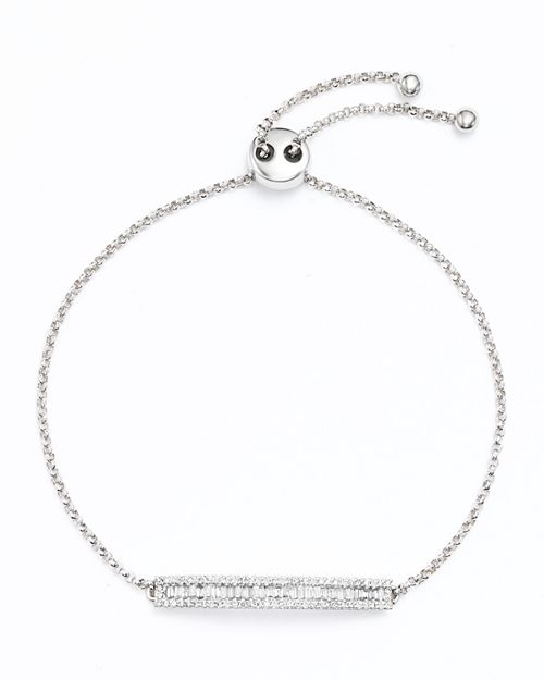 Bloomingdale's - Diamond and Baguette Bar Bracelet in 14K White Gold, .50 ct. t.w. - 100% Exclusive