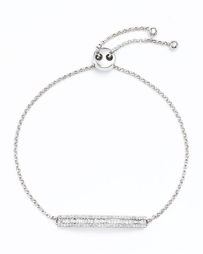 Bloomingdale's - Diamond and Baguette Bar Bolo Bracelet in 14K White Gold, .50 ct. t.w. - 100% Exclusive