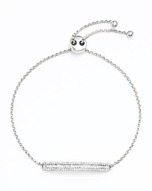 Diamond and Baguette Bar Bracelet in 14K White Gold, .50 ct. t.w.