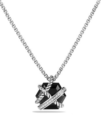 David Yurman - Petite Cable Wrap Necklace with Black Onyx and Diamonds