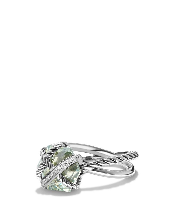 David Yurman - Petite Cable Wrap Ring with Prasiolite and Diamonds