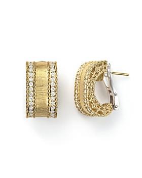Roberto Coin - 18K Yellow Gold Diamond Satin Princess Earrings