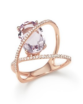 Bloomingdale's - Amethyst and Diamond Statement Ring in 14K Rose Gold- 100% Exclusive
