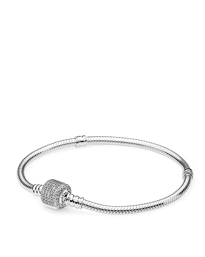 7de8a66b79c7e Pandora - Moments Collection Sterling Silver   Cubic Zirconia Signature  Clasp Bracelet