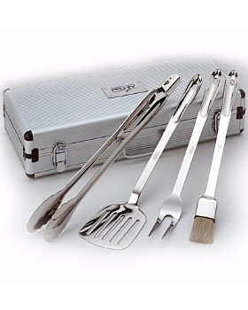 All-Clad - Stainless Steel 4-Piece BBQ Tool Set with Case