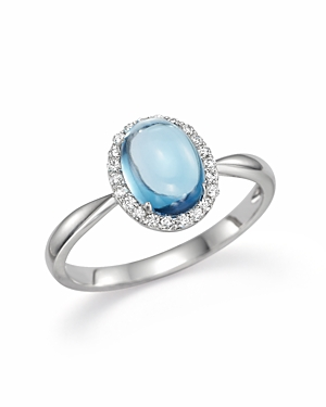 Blue Topaz Cabochon and Diamond Ring in 14K White Gold - 100% Exclusive