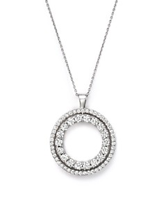 Roberto Coin - 18K White Gold Double Sided Circle Pendant Necklace with White and Black Diamonds, 16""