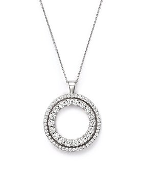 """Roberto Coin - 18K White Gold Double Sided Circle Pendant Necklace with White and Black Diamonds, 16"""""""