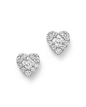 Diamond Heart Cluster Earrings in 14K White Gold, .50 ct. t.w. - 100% Exclusive