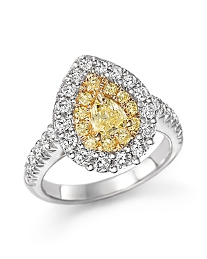 Yellow and White Diamond Pear Shape Ring in 18K White and Yellow Gold - 100% Exclusive