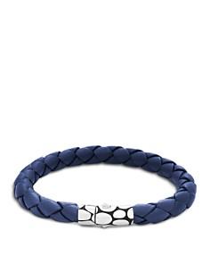 JOHN HARDY - Men's Kali Silver Blue Woven Leather Bracelet