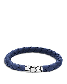 John Hardy - Men's Kali Silver Blue Woven Leather Bracelet