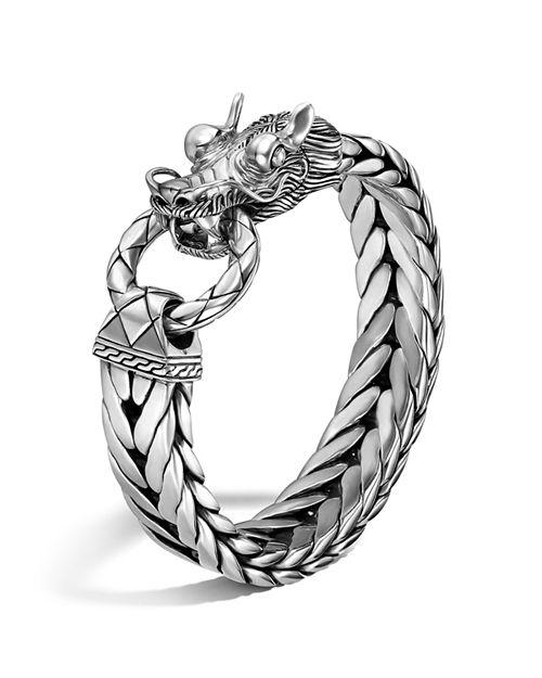 John Hardy Men S Naga Silver Dragon Head Bracelet On Fishtail Chain